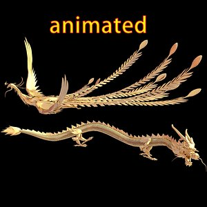 3D gold dragon phoenix
