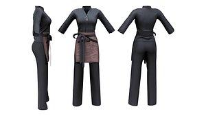 3D Female Waitress Uniform