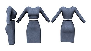 Crop Long Sleeves Top With Pencil Skirt 3D model
