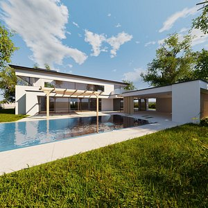 Modern villa 2021 Blender Eevee and Cycles 1 without furniture 3D model