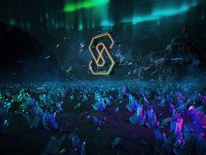 C4D OCTANE Aurora Mountain Crystal Ground Ore Scifi LOGO desert Cyberpunk 3D model