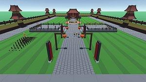 monk shaolin temple 3D model