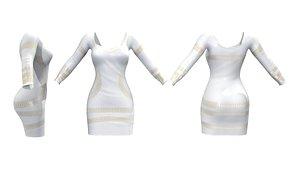3D model Gold Print Shift Dress