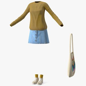 3D Casual Streetwear Girl Outfit