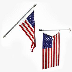 usa flag flagpole 3D model