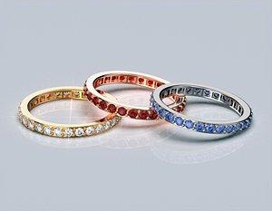 3D gemstones ring printing model