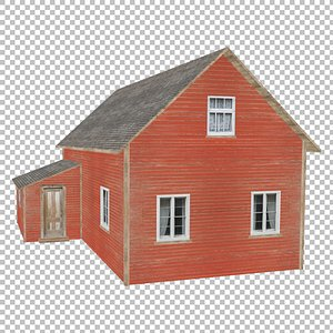 3D Big Farm Wood House  Red Low Poly model