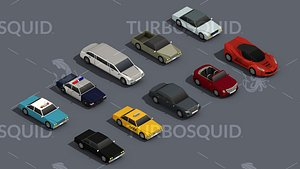 3D Low Poly Car Pack 02 Isometric Low-poly 3D model model