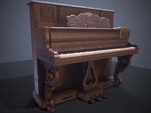Vintage home piano pbr Low-poly 3D model 3D model