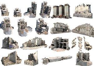 Concrete Rubble Buildings Mega Pack model
