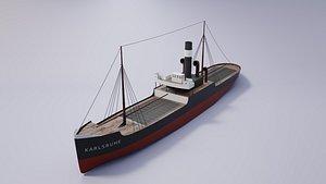 1905 german cargo steamer 3D model