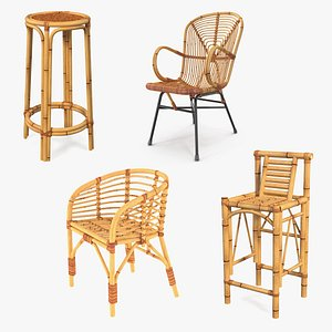 3D Bamboo Chairs  Collection model