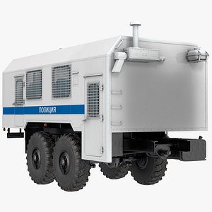 3D russian police truck wagon