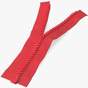 3D Opened Zipper without Slider Red