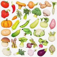Cartoon vegetables, mushrooms and fruits set