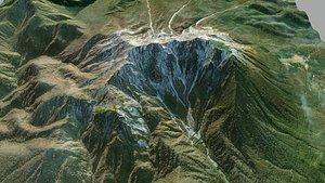 3D Mountain landscape Daisen Japan