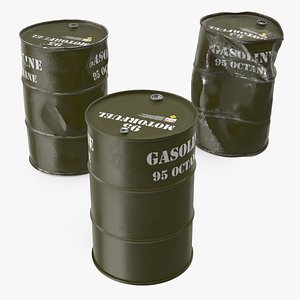 3D gasoline 95 octane metal barrel model