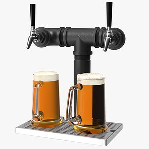 Black Iron Pipe Beer Tower Double Tap with Beer Mugs model