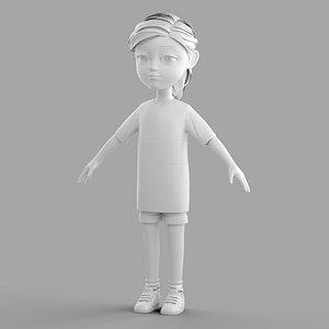 3D Cartoon Fangirl model