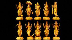 3D Dashavatar gods vishnu 3d models model