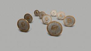 Crypto Coins Set PBR 3D model