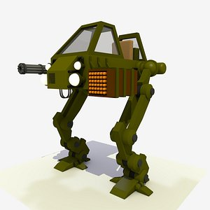 CARTOON 1 MECHA WALKER RIGGED AND ANIMATED 3D model