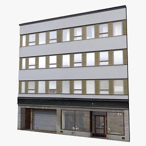 3d street building facade