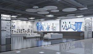 Corporate reception area corporate culture wall sofa modern aesthetic space minimalism 3D model