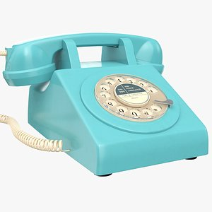 3D Blue Rotary Phone