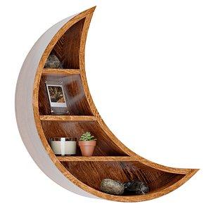 3D moon wood wall shelf model