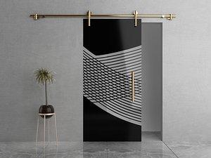 3D Glass Sliding Door Pulley Gold model