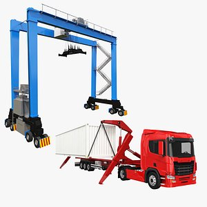 SideLifter Truck and Gantry Crane Collection 3D model