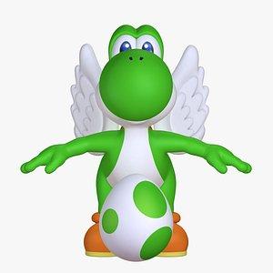 3D model classic yoshi wings super mario