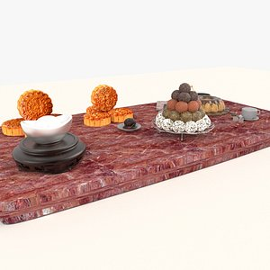 3D Chinese mooncake with desserts model