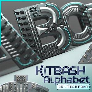 3D Kitbash Alphabet 3d Tech Font model