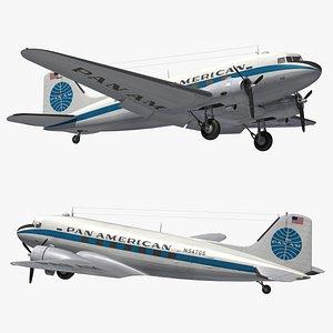 3D model DC3 Pan American World Airways