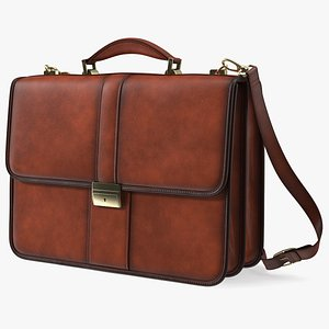 Leather Flapover Briefcase Brown 3D model