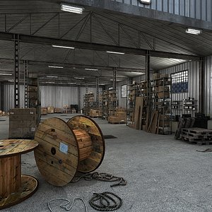 3D Logistics and storage Warehouse Scene 01a