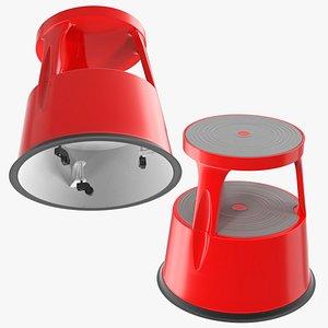 3D kick stool steel red