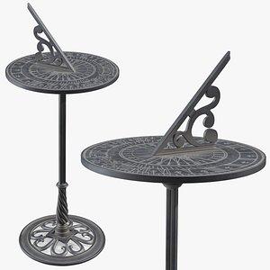 3D model horizontal sundial pedestal base