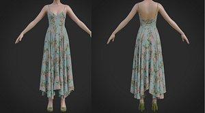 Flowy Floral Summer Maxi Dress 3D model