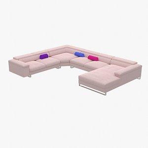 Pink Sectional Sofa 3D