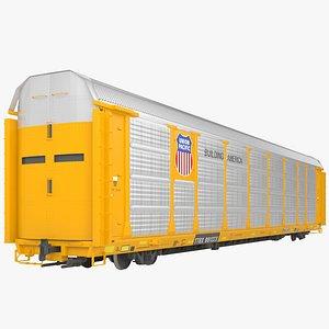 Railroad autorack wagon 3D