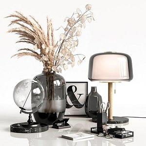 Decorative set in black colors 3D model