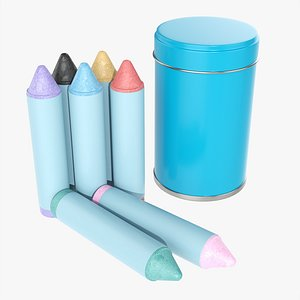 Large crayons in metal tube box 3D