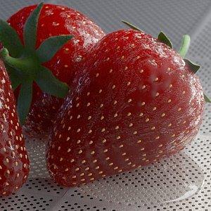 3D model strawberries scene redshift
