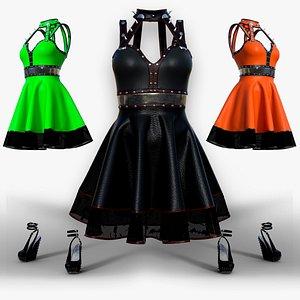 New women gothic punk dress for 3D model