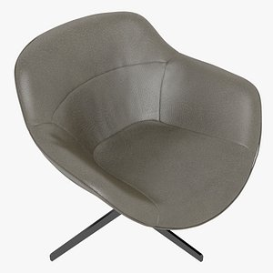 Cassina 277-22 Auckland Arm Chair Brown Leather Black Body 3D model