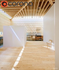 3D house light corona render interior