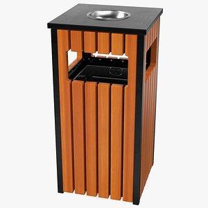 square trash bin ashtray 3D model